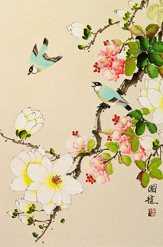 Birds & Flowers Wall Scroll close up view