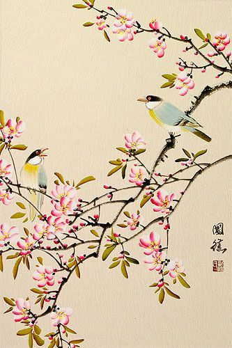 Birds and Bright Pink Blossom Wall Scroll close up view