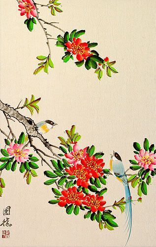 Bird and Flower Chinese Scroll close up view