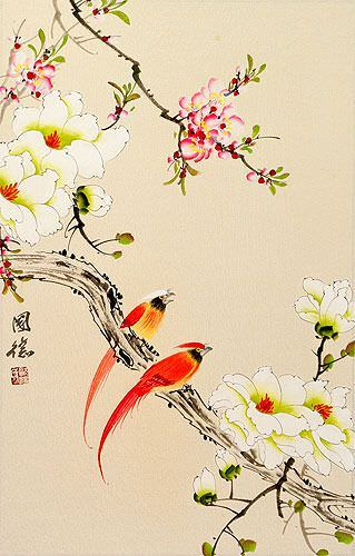 Cardinal Birds and Flowers Wall Scroll close up view