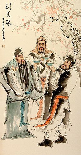 Three Warrior Brothers of China Wall Scroll close up view