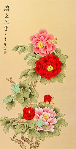 Large Red and Pink Peony Flower Wall Scroll close up view