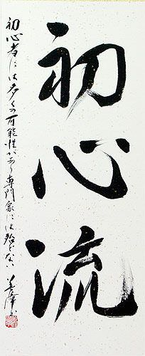 Shoshin-Ryu Japanese Kanji Calligraphy Wall Scroll close up view