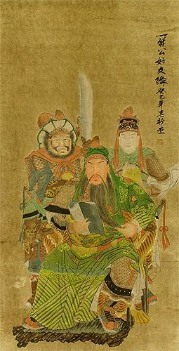 Three Brothers - Partial-Print Hanging Scroll close up view