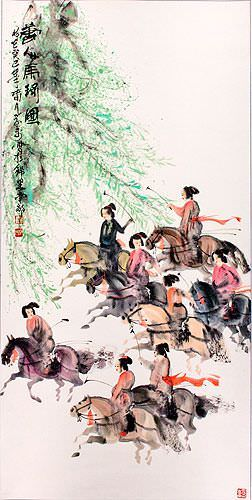 Large Tang Dynasty Polo Players on Horseback Wall Scroll close up view