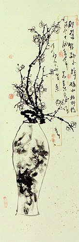 Plum Blossom Wall Scroll close up view
