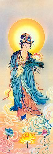 Guanyin Buddha Lotus Embrace - Giclee Print - Wall Scroll close up view