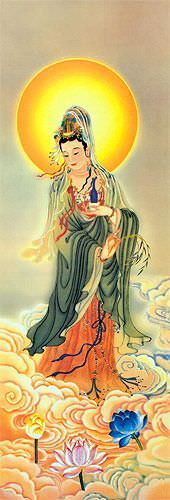 Guanyin Buddha Holds the Jing Ping - Giclee Print - Wall Scroll close up view