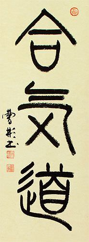 Aikido - Japanese Kanji Calligraphy Wall Scroll close up view
