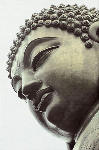 Face of Buddha Statue Wall Scroll close up view