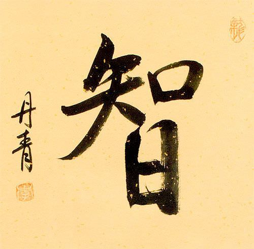Wise / Wisdom - Chinese / Japanese Kanji Wall Scroll close up view