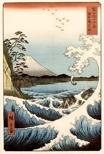 Mount Fuji Waves Landscape - Japanese Woodblock Print Repro - Wall Scroll close up view