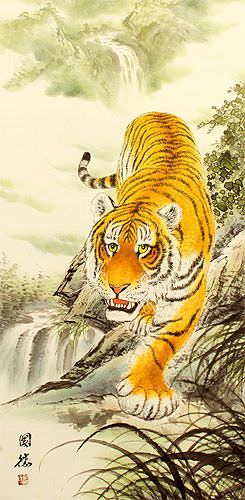 Chinese Tiger Wall Scroll close up view