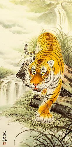 Chinese Tiger on the Prowl - Large Wall Scroll close up view