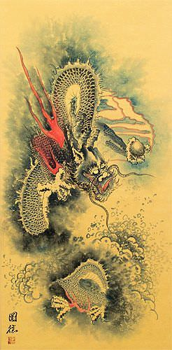 Flying Chinese Dragon and Lightning Pearl - Chinese Wall Scroll close up view