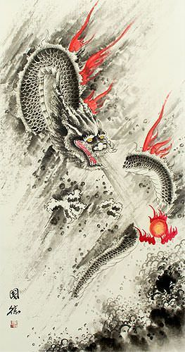 Flying Chinese Dragon & Lightning Pearl - Chinese Scroll close up view