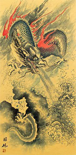 Flying Chinese Dragon and Lightning Pearl - Chinese Scroll close up view