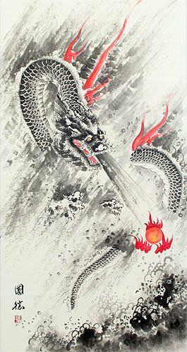 Flying Chinese Dragon Lightning Pearl - Asian Scroll close up view