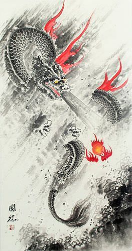Flying Chinese Dragon Lightning Pearl - Asian Wall Scroll close up view