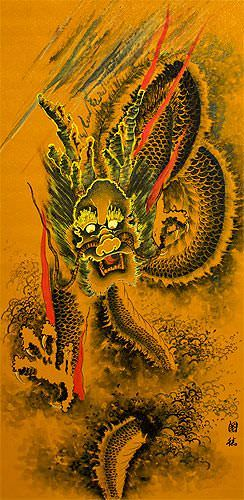 Flying Chinese Dragon Wall Scroll close up view