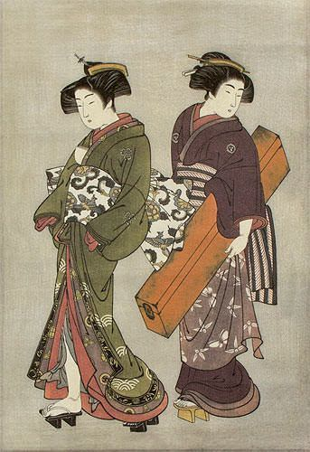 Geisha & Servant Carrying a Shamisen Box - Japanese Print Repro - Wall Scroll close up view