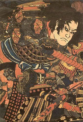 Samurai Warrior Swordsman - Japanese Woodblock Print Repro - Wall Scroll close up view