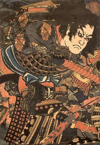 Samurai Sanada no Yoichi Yoshihisa - Japanese Woodblock Print Repro - Wall Scroll close up view