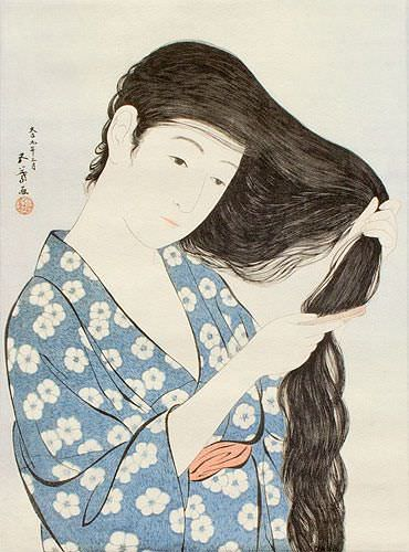 Woman in Blue Combing Hair - Japanese Woodblock Print Repro - Wall Scroll close up view