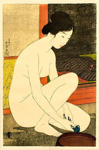 Nude Bathing Woman - Japanese Woodblock Print Repro - Wall Scroll close up view