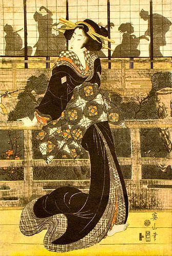 Geisha Woman - Japanese Woodblock Print Repro - Wall Scroll close up view