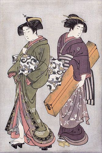 Geisha & Servant Carrying a Shamisen Box - Japanese Print - Small Wall Scroll close up view