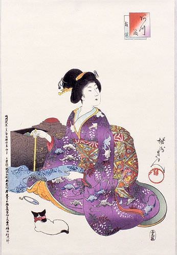 Geisha Woman Sewing - Japanese Woodblock Print Repro - Wall Scroll close up view