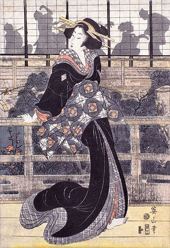 Geisha on the Veranda - Japanese Woodblock Print Repro - Wall Scroll close up view