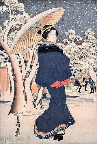 Woman Strolling in Asakusa - Japanese Woodblock Print Repro - Wall Scroll close up view