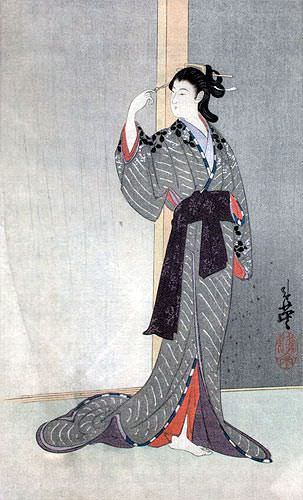Courtesan with a View of the Rain - Japanese Woodblock Print Repro - Wall Scroll close up view