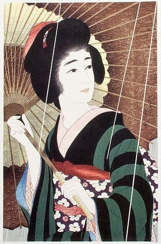 Rain - Woman & Parasol - Japanese Woodblock Print Repro - Wall Scroll close up view