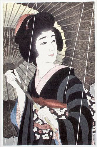 Rain - Woman & Parasol - Woodblock Print Repro - Japanese Scroll close up view