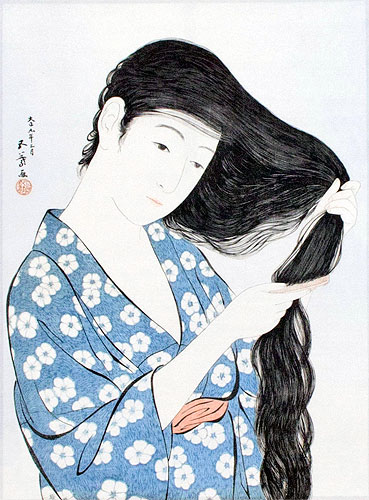 Japanese Woman Combing Hair - Woodblock Print Repro - Wall Scroll close up view