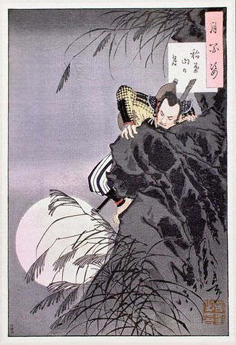 Samurai and Moon - Hideyoshi Climbs - Japanese Woodblock Print Repro - Wall Scroll close up view