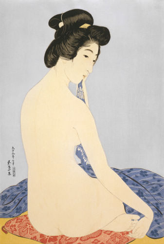 Nude Woman After Bath - Japanese Woodblock Print Repro - Wall Scroll close up view
