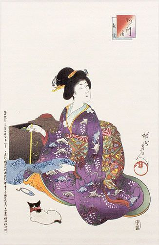 Japanese Sewing Lady Wall Scroll close up view