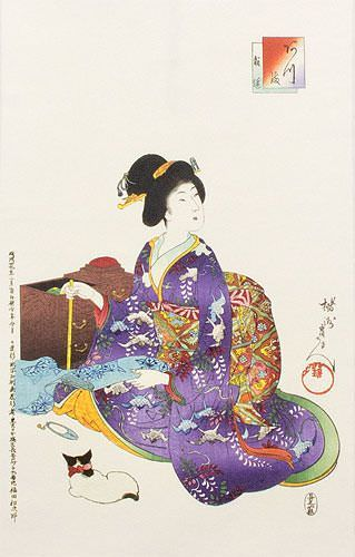 Woman Sewing - Japanese Woodblock Print Repro - Wall Scroll close up view