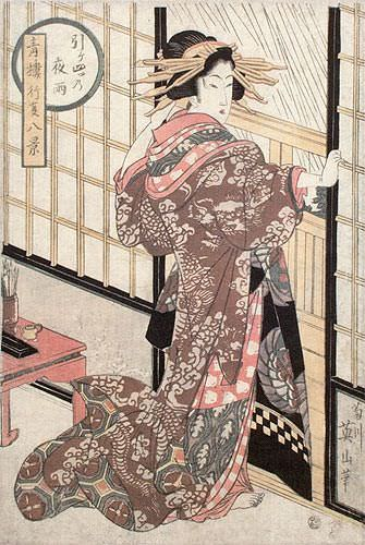 Geisha - Midnight Rain - Shoji Screen - Japanese Woodblock Print Repro - Wall Scroll close up view