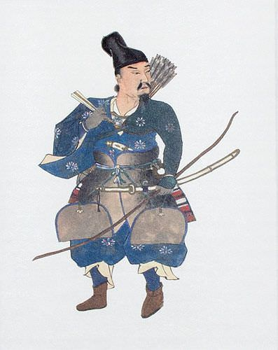 Japanese Archer Samurai Wall Scroll close up view