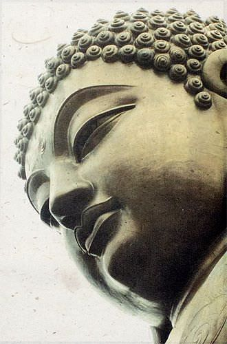 Face of Buddha Print - Small Wall Scroll close up view