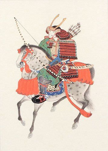 Samurai on Horseback - Japanese Print Repro - Wall Scroll close up view
