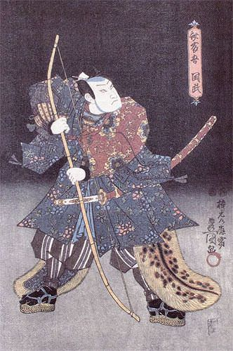 Samurai Warrior Archer - Japanese Woodblock Print Repro - Wall Scroll close up view