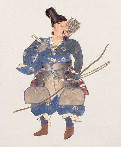 Japanese Samurai Archer Warrior Wall Scroll close up view