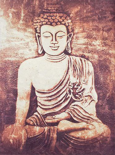 Stone Buddha Print - Wall Scroll close up view
