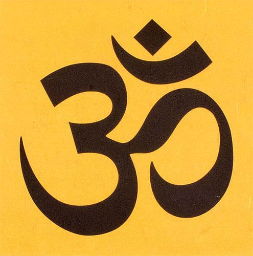 Om Symbol - Hindu / Buddhist Unryu Wall Scroll close up view